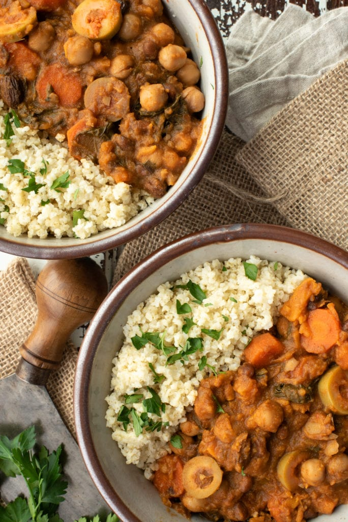 Moroccan chickpea stew and quinoa in bowls