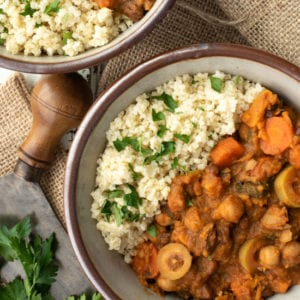 Moroccan chickpea stew and quinoa in bowl