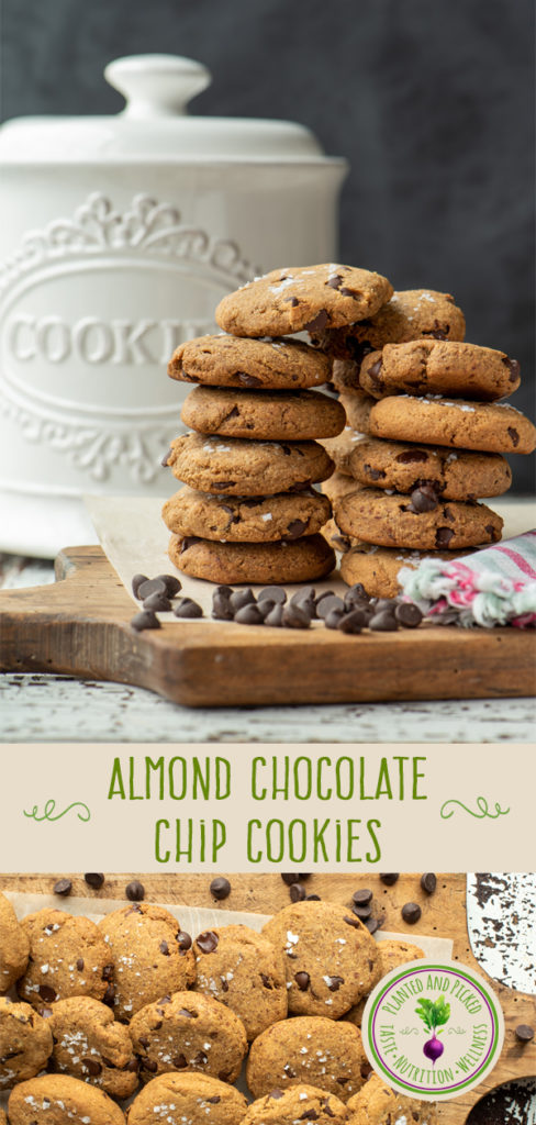 almond chocolate chip cookies stacked and on cutting board - pinterest image