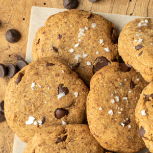 almond chocolate chip cookies on cutting board