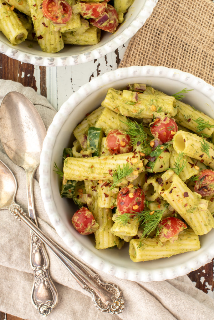 avocado dill pasta salad in bowl