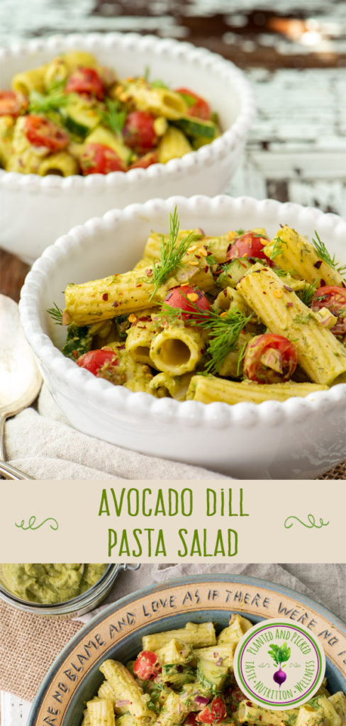 avocado dill pasta salad in bowls