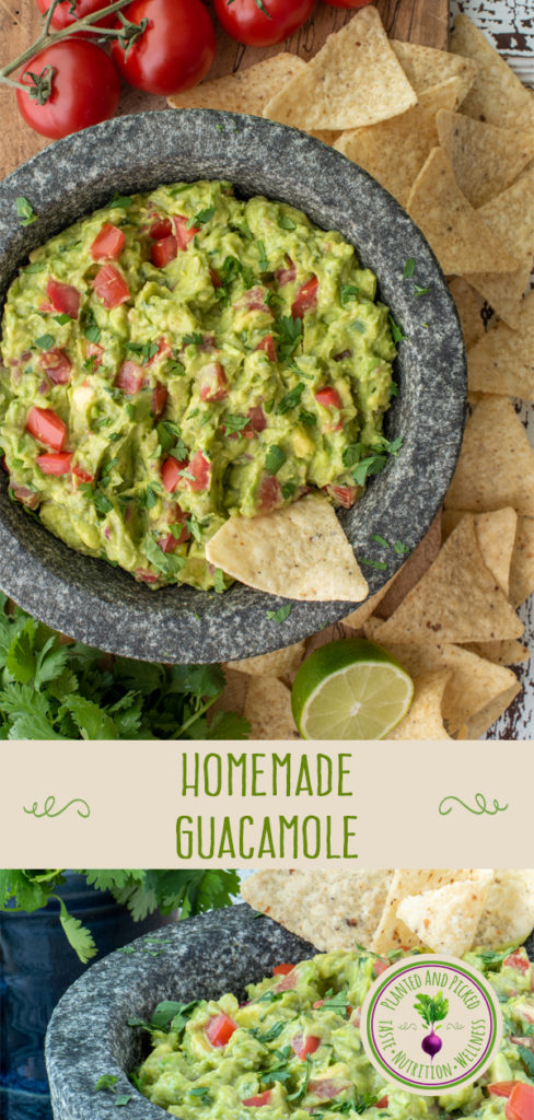 homemade guacamole in molcajete - pinterest image
