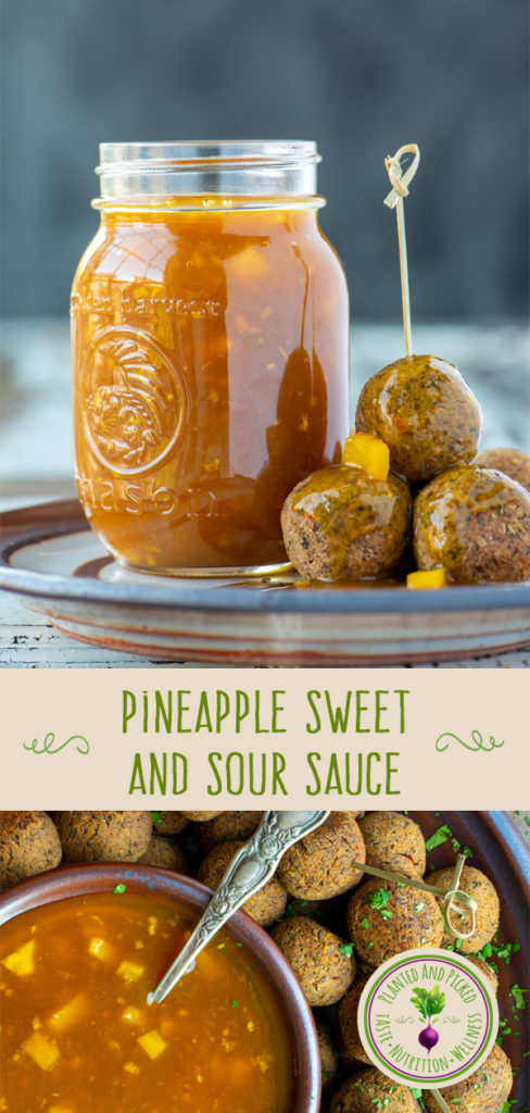 pineapple sweet and sour sauce in dish and jar - pinterest image