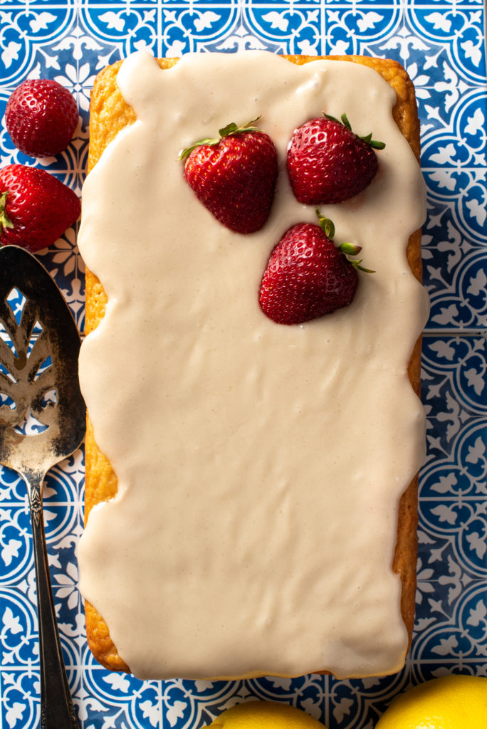 lemon strawberry loaf on tile