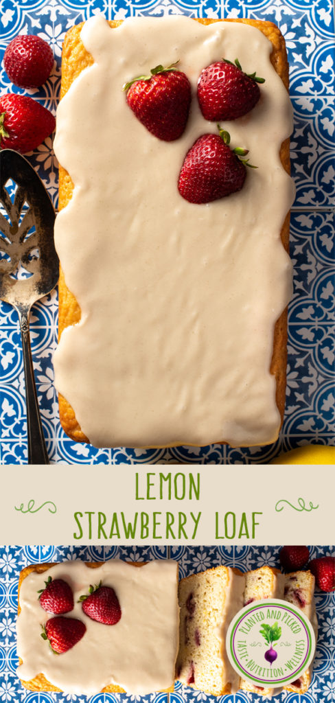 lemon strawberry loaf on tile - pinterest image