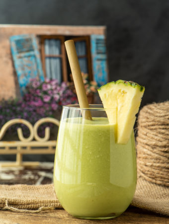 refreshing pineapple salsa smoothie in glass