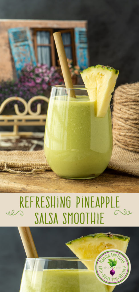 refreshing pineapple salsa smoothie in glass - pinterest image