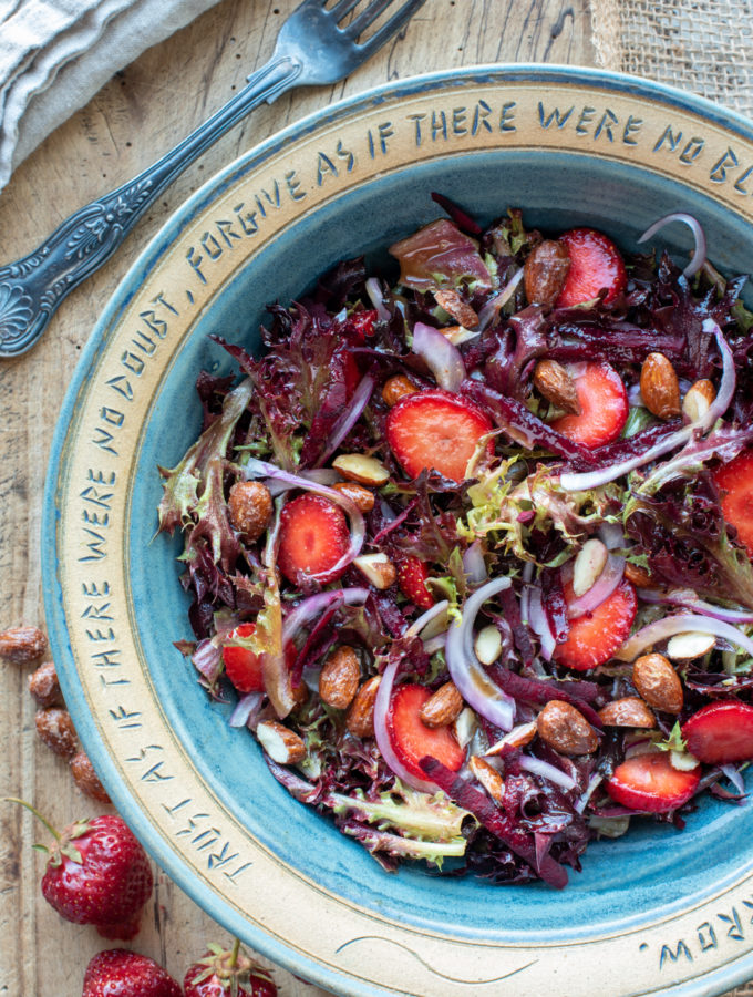 strawberry beet maple almond salad in bowl