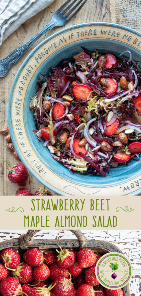 strawberry beet maple almond salad in bowl and strawberries in basket - pinterest image
