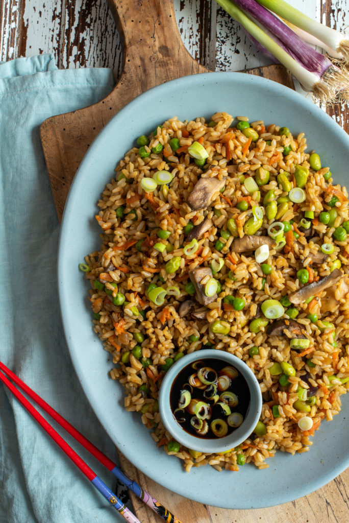 bountiful vegetable fried rice on platter