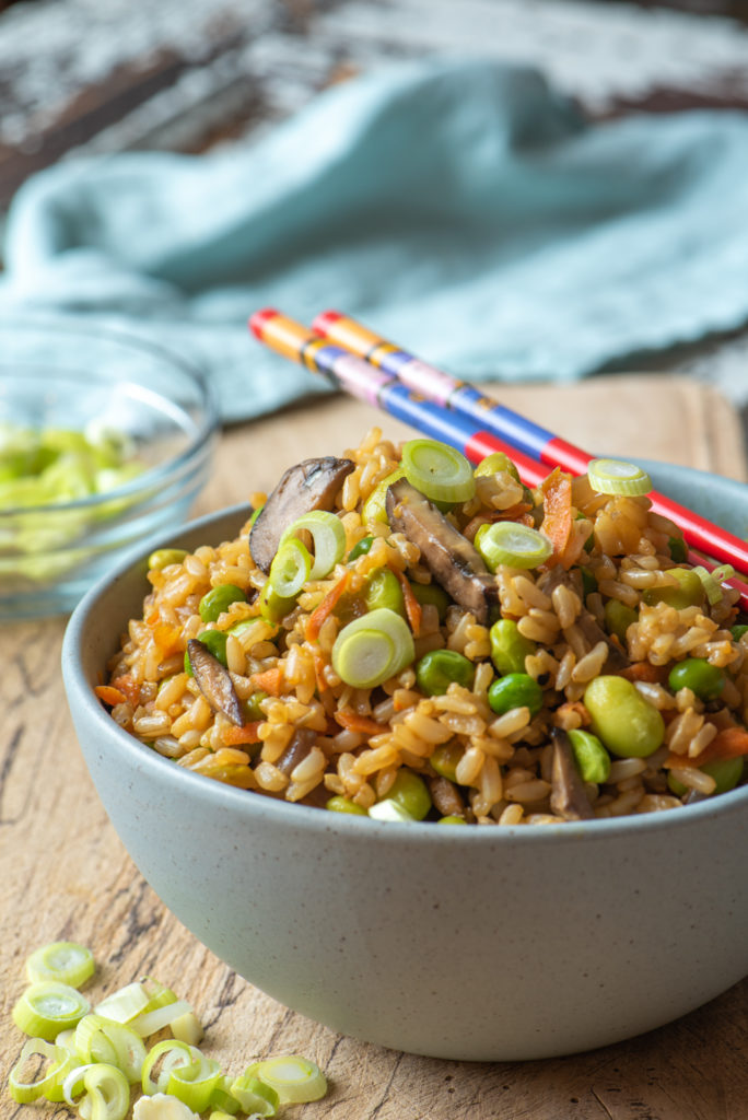 bountiful vegetable fried rice in bowl with chop sticks