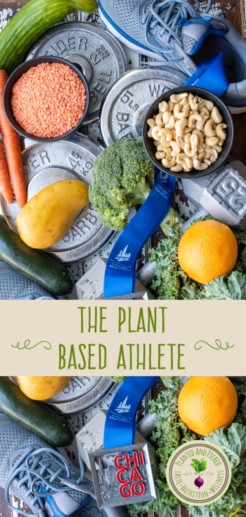plant-based foods next to shoes weights and medal - pinterest image