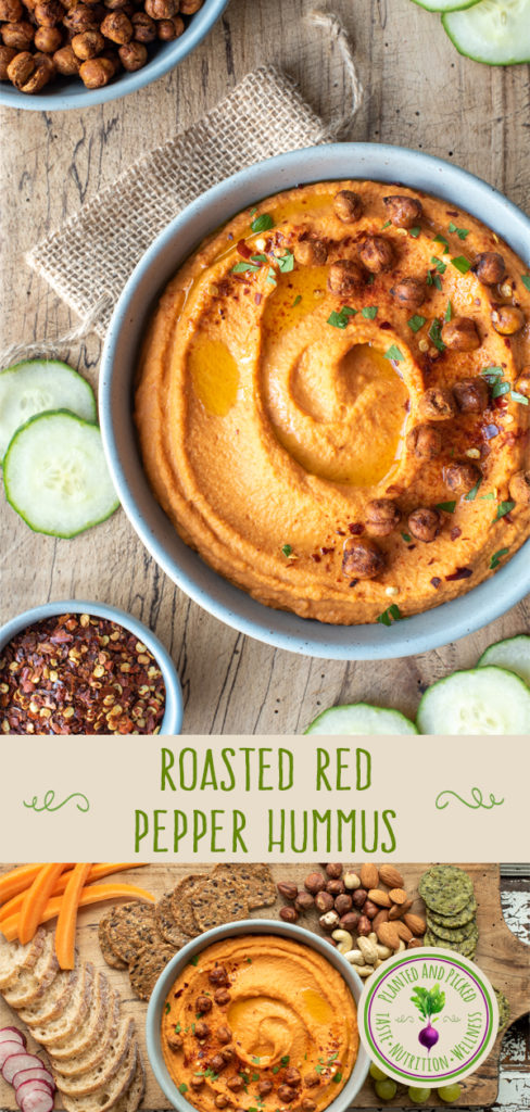 roasted red pepper hummus in bowl on cutting board - pinterest image