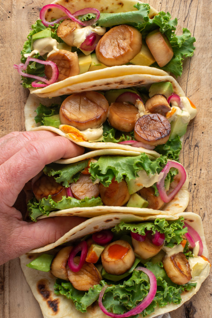 vegan scallop tacos on board
