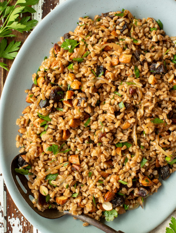wholesome and healthy farro salad on platter