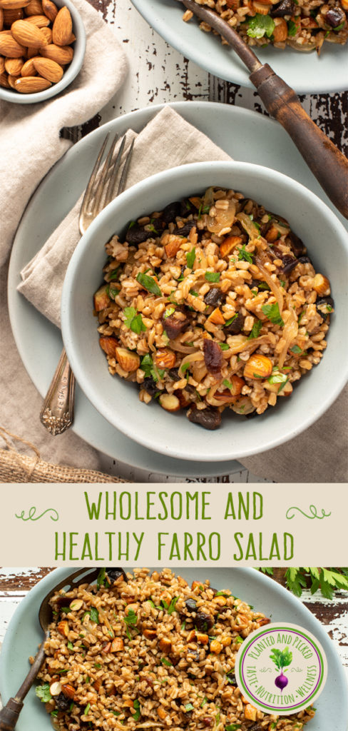 farro salad in bowl and on platter - pinterest image