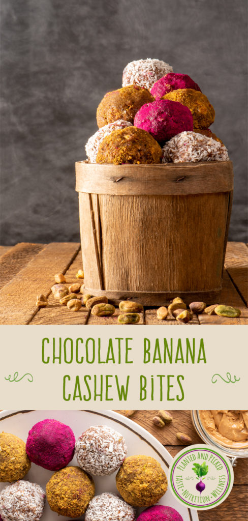 Chocolate Banana Cashew Bites in basket and on plate - pinterest image