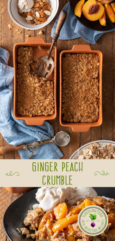 ginger peach crumble in baking dishes and on plate