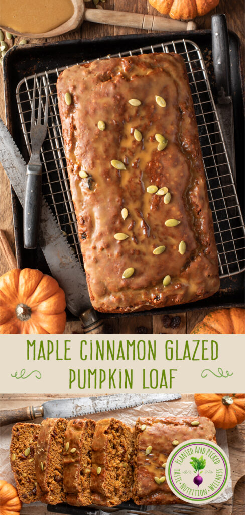 maple cinnamon glazed pumpkin loaf on cooling rack and cutting board - pinterest image