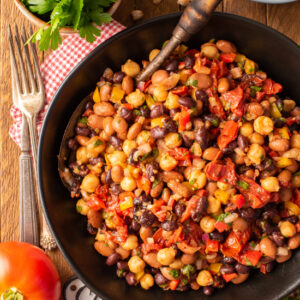 slow roasted tomato bean salad in bowl