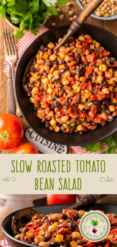 slow roasted tomato bean salad in bowls - pinterest image