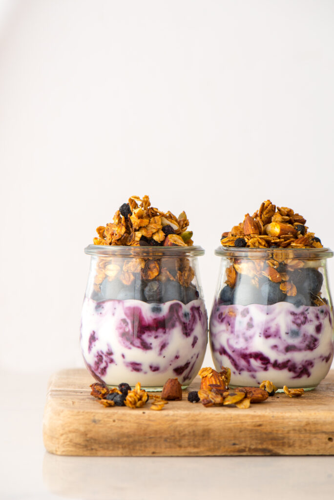 two parfaits in jars