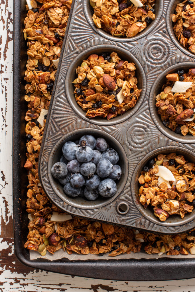 coconut blueberry granola in pans