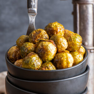 garlicky maple brussels sprouts in bowl