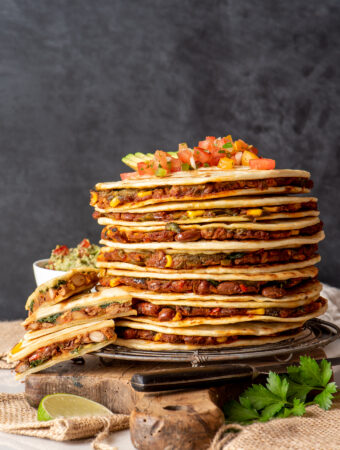 pinto bean and greens quesadillas on board