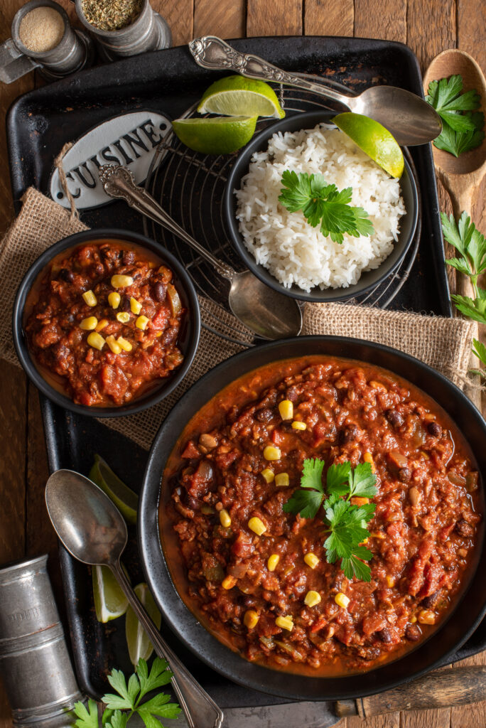 protein rich tempeh chili in bowls