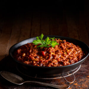 protein rich tempeh chili in bowl