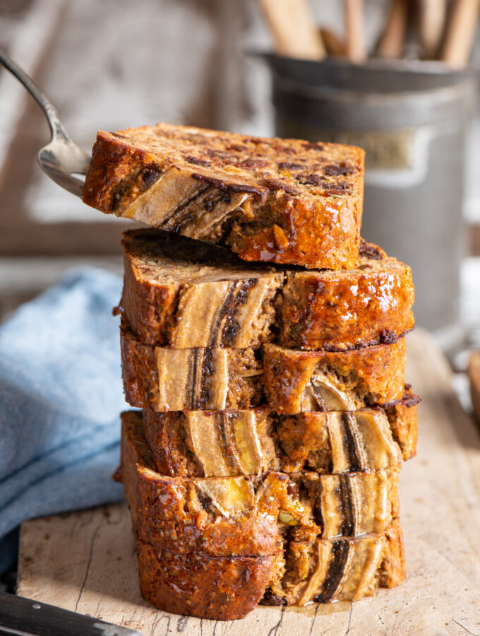 stack of seedy chocolate chip banana bread