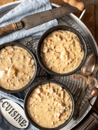 east coast vegan clam chowder in three bowls