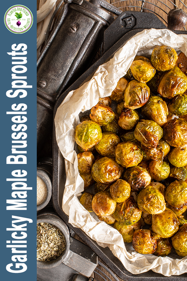 Garlicky Maple Brussels Sprouts in skillet - pinterest image