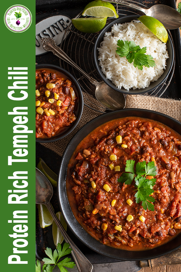 protein rich tempeh chili in bowls - pinterest image
