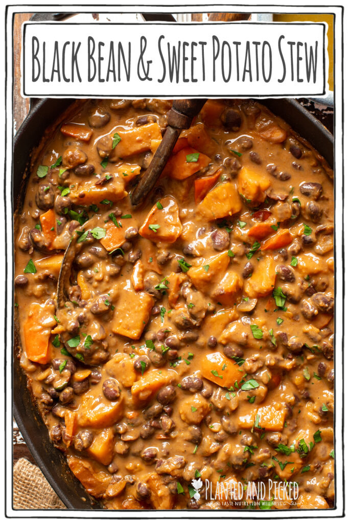 black bean and sweet potato stew in iron skillet - pinterest image