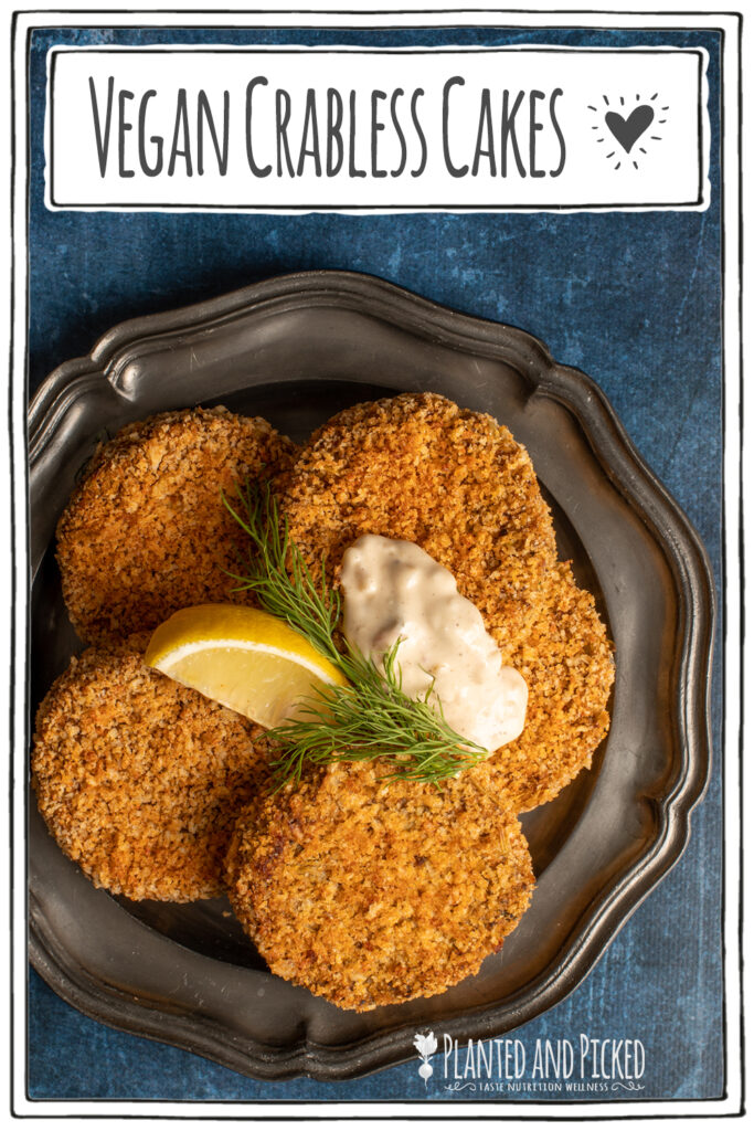 vegan crabless cakes on pewter plate - pinterest image