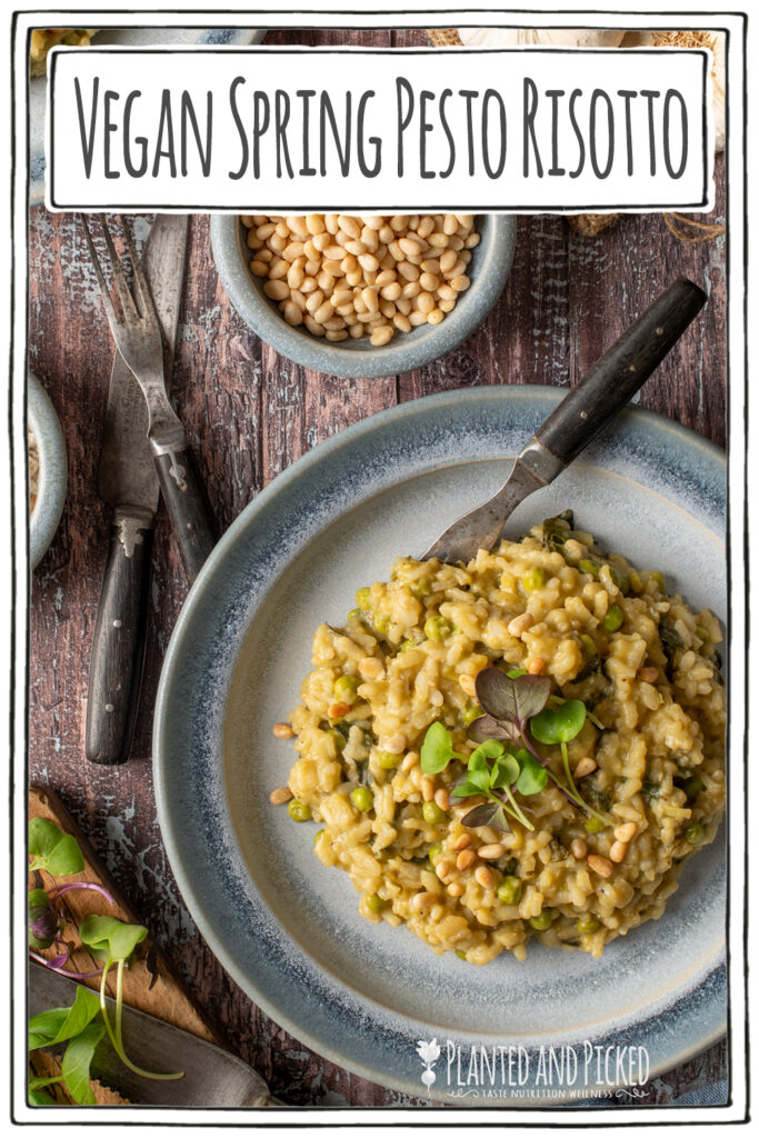 spring pesto risotto on blue pottery plate - pinterest image