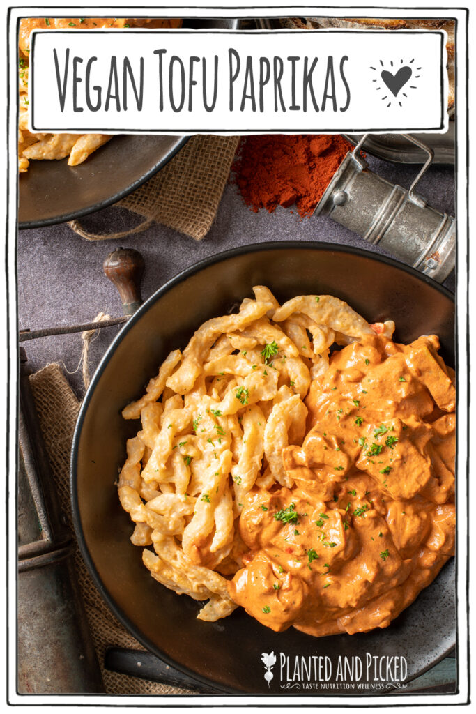 vegan hungarian tofu paprikash in black bowl - pinterest image