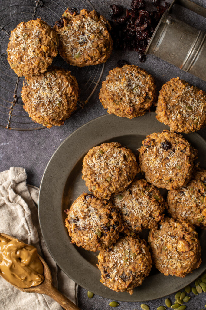 nut butter breakfast cookies on pewter plate and cooling rack