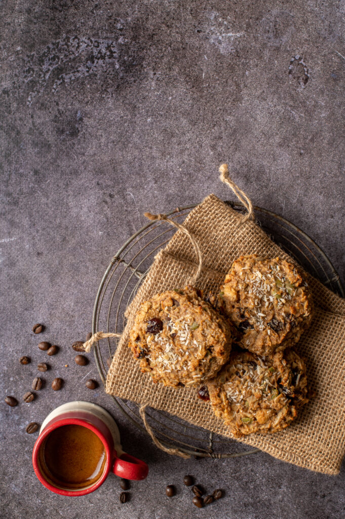 nut butter breakfast cookies on small burlap bags on cooling rack