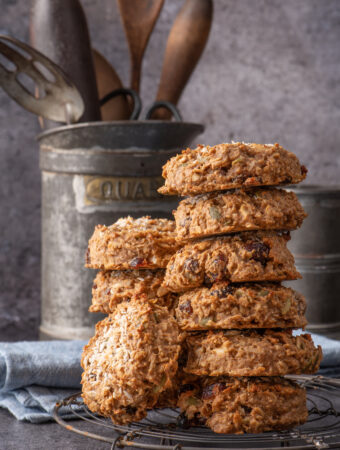 nut butter breakfast cookies stacked on cooling rack
