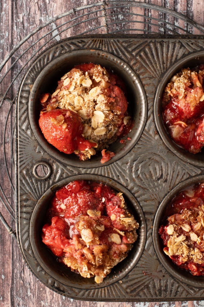 strawberry coconut crumble in muffin tin cups