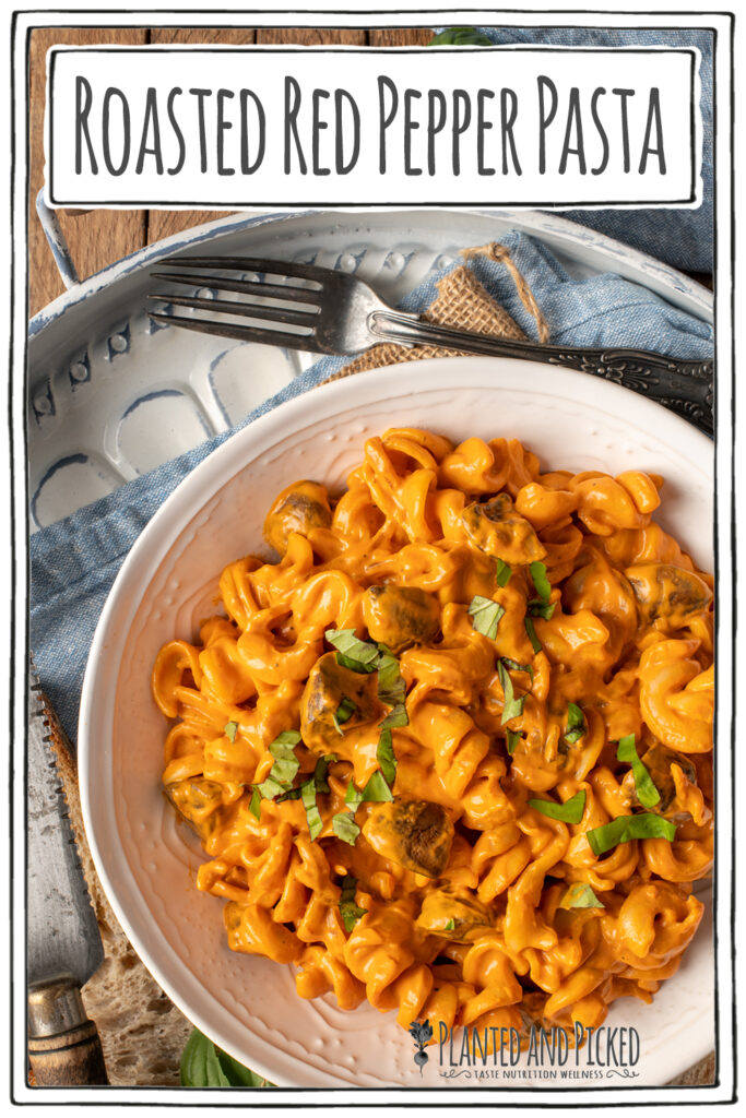 creamy roasted red pepper pasta in white bowl on tray - pinterest image