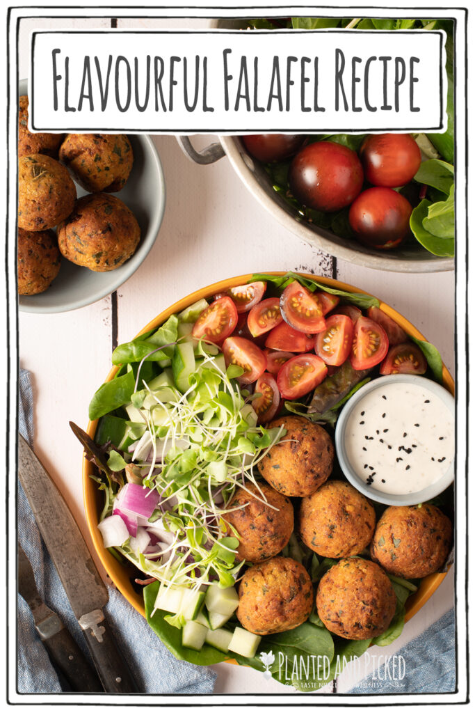 falafel plate with tomatoes, cucumber and greens - pinterest image