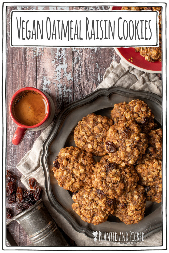 vegan oatmeal raisin cookies on pewter plate next to cup of espresso - pinterest image